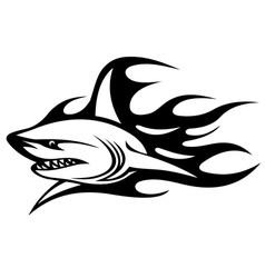 Angry shark with black flames vector