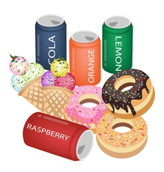 Set of refreshing soda drinks and sweet food vector