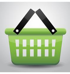 Green basket shopping vector