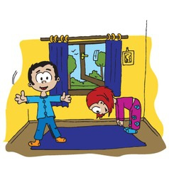 Boy and girl morning exercise vector