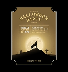 Vintage halloween invitation with howling werewolf vector