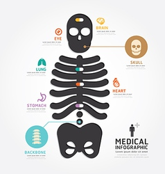 Infographics medical skull bone design diagram vector