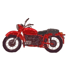 Doodle sketch red vintage motorcycle on a white vector
