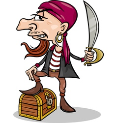 Pirate with treasure cartoon vector