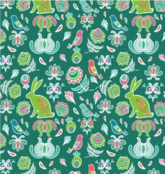 Easter rabbit in spring garden seamless pattern vector