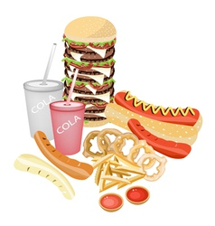 Set of refreshing soda drinks and fast food vector