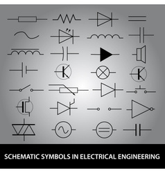 Schematic symbols in electrical engineering icon vector