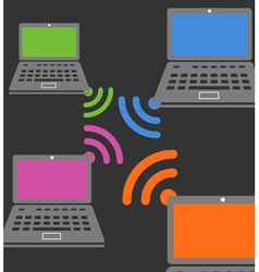 Laptop wireless connection composition vector