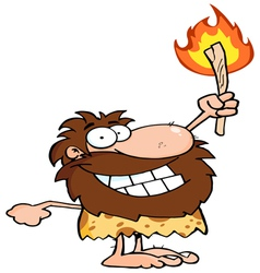 Happy caveman holding up a fiery torch vector