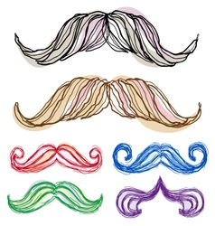 Hand-drawn mustache set vector