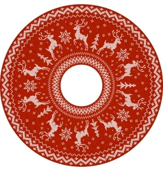Red knitted deers circle pattern vector