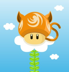 Cat mushroom vector