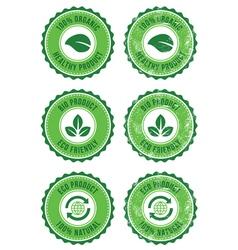 Green organic natural eco retro labels vector