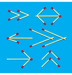 Arrows symbols made from matches on blue vector
