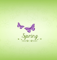 Spring green and butterfly background vector