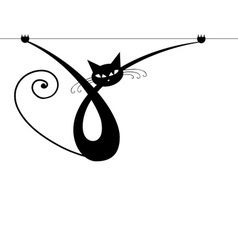 Graceful black cat silhouette for your design vector