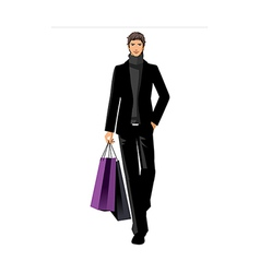 Close-up of man holding shopping bags vector