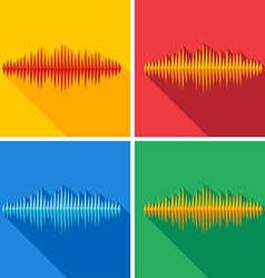 Set of flat music wave icons vector