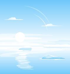 Sea with small icebergs landscape vector