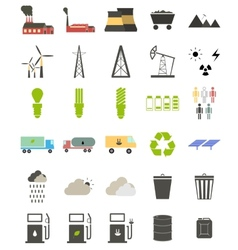 Flat icons on the theme of ecology vector