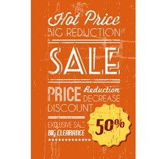 Retro sale background orange vector