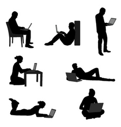 People with laptops vector