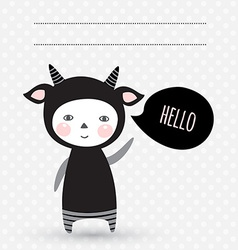 Greeting card with cute kid monster child in vector