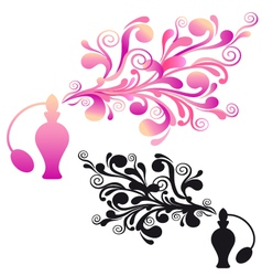 Perfume bottle with floral scent vector