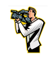 Side view of man holding video camera vector