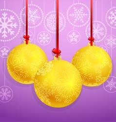 Christmas baubles with ornament of snowflakes vector
