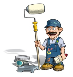 Handyman painter blue uniform vector