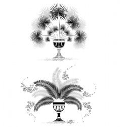 Silhouettes of vases with palm vector