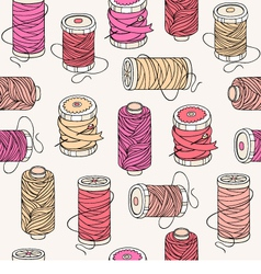 Spools of threads seamless pattern vector