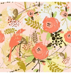 Decorative floral background with flowers of peony vector