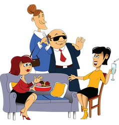 Cartoon dinner guests vector