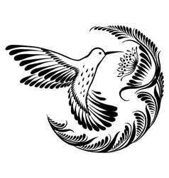 Decorative silhouette hummingbird in flight vector