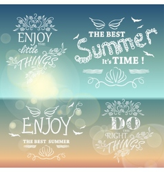 Beautiful seaside view poster set of background vector