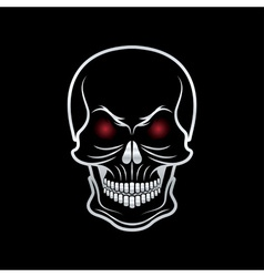Silver skull with red eyes on black background vector