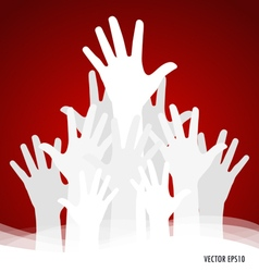 Raised hands vector