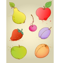 Set of hand drawn bright fruits vector