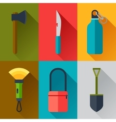 Tourist set of camping equipment icons in flat vector