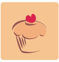 Retro cupcake silhouette with heart vector