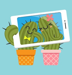 Couple of cactus taking selfie vector