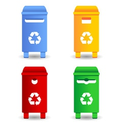 Recycling trash containers vector