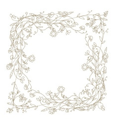Sketch of floral frame for your design vector