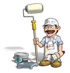 Handyman painter white uniform vector