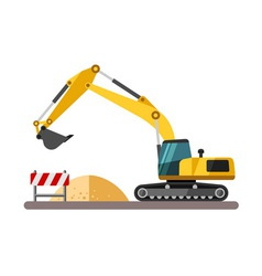 Construction equipment and machinery - excavator vector