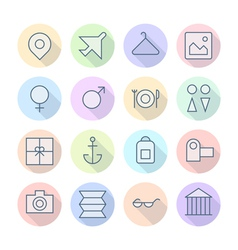 Icons line round resort thin vector
