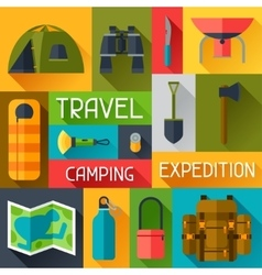 Tourist background with camping equipment in flat vector