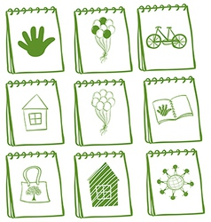 Notebooks with different cover page designs vector